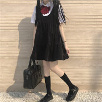 Dress Summer 2020 Dress, shirt and bow tie Average size Mid length dress Two piece set Sleeveless Sweet other High waist Solid color Socket A-line skirt other Others 18-24 years old Type A Four point six 81% (inclusive) - 90% (inclusive) other solar system