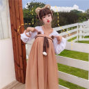 Dress Summer 2020 Sun proof cardigan, dress Average size Mid length dress Two piece set Sweet other High waist Solid color Socket A-line skirt other Others 18-24 years old Type A four point one zero solar system