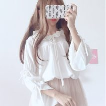 shirt White, brick red Average size Spring 2020 polyester fiber 96% and above Long sleeves Sweet Regular Lotus leaf collar Socket pagoda sleeve Solid color 18-24 years old Three point one bow solar system Chiffon