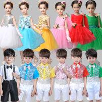 Children's performance clothes neutral 100cm 110cm 120cm 130cm 140cm 150cm 160cm rolian mille Chorus 0101 3 years old, 4 years old, 5 years old, 6 years old, 7 years old, 8 years old, 9 years old, 10 years old, 11 years old, 13 years old, 14 years old Spring of 2019