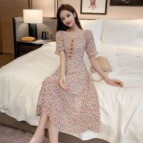 Dress Summer 2020 Apricot, red S,M,L,XL Mid length dress singleton  Short sleeve commute V-neck High waist Decor Socket Big swing 18-24 years old Korean version Bowknot, ruffle, tassel, embroidery, lace, tridimensional decoration, button, lace, 3D, printing