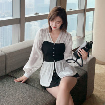 shirt milky white M,L,XL,2XL,3XL Spring 2021 other 31% (inclusive) - 50% (inclusive) Long sleeves commute Regular V-neck Socket routine Solid color 18-24 years old Self cultivation Korean version Button, asymmetric, bandage, tie dye, thread decoration