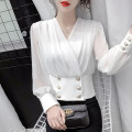 Lace / Chiffon Spring 2021 White, black S,M,L,XL Long sleeves commute Socket singleton  Straight cylinder Regular V-neck Solid color routine 18-24 years old Buttons, epaulets, straps, sequins, rags, waves Korean version