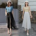Casual pants White, blue, black S,M,L,XL,2XL Summer 2021 Ninth pants Wide leg pants High waist commute Thin money 18-24 years old Korean version rivet