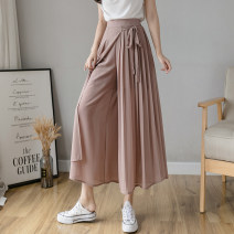 Casual pants White, black, skin pink, gray blue S,M,L,XL Summer 2021 Cropped Trousers Wide leg pants High waist commute Thin money 18-24 years old Korean version fold Asymmetry