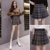 skirt Winter 2020 S,M,L,XL Short skirt commute High waist Pleated skirt lattice Type A 18-24 years old More than 95% Other / other other bow Korean version