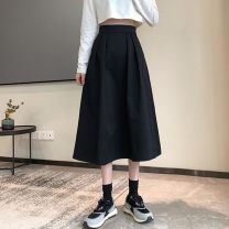 skirt Spring 2021 S,M,L Blue, black, card Mid length dress Versatile High waist Umbrella skirt Solid color Type A 18-24 years old 0131-00018 91% (inclusive) - 95% (inclusive) Other / other polyester fiber