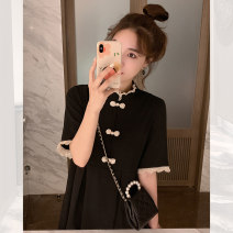 Dress Summer 2020 Black little black skirt S M L XL Middle-skirt singleton  Short sleeve commute stand collar High waist Solid color Socket A-line skirt routine 18-24 years old Type A Mianzidai Korean version Patchwork lace More than 95% other other Other 100% Pure e-commerce (online only)
