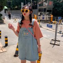 Women's large Summer 2020, spring 2020 blue Large L, large XL, s, m, 2XL, 3XL, 4XL Dress singleton  commute moderate Sleeveless Solid color Korean version cotton other Other / other 18-24 years old Embroidery Medium length