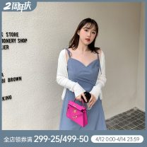 Women's large Summer 2020 Black, blue Large L, large XL, large XXL, M singleton  commute moderate Sleeveless Korean version polyester QQ026670 Other / other 96% and above Medium length