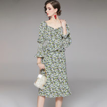 Pajamas / housewear set male Other / other S,M,L,XL green wool Long sleeves Middle-skirt