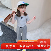 suit yojia grey 80cm 90cm 100cm 110cm 120cm 130cm 140cm 150cm female summer Korean version Short sleeve + pants 2 pieces Thin money There are models in the real shooting Socket nothing Solid color other children Giving presents at school 21XT111 Other 100% Summer 2021