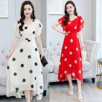 Dress Summer 2021 Black, white, red M recommendation [85-100], l recommendation [100-110], XL recommendation [110-120], 2XL recommendation [120-130], 3XL recommendation [130-140], 4XL recommendation [140-150] Mid length dress singleton  Short sleeve commute V-neck Socket other Others Type A Chiffon