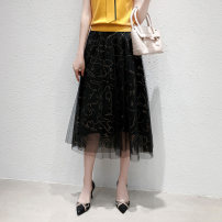 skirt Spring 2021 36,38,40,42,44 black longuette Versatile Natural waist A-line skirt Abstract pattern Type A 30-34 years old KW00755W0 91% (inclusive) - 95% (inclusive) other other Bright silk, gauze