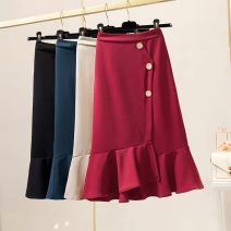 skirt Spring 2021 Mid length dress High waist Splicing style Button, panel, solid color
