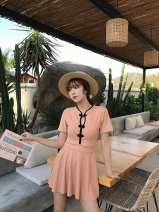 one piece  Tao Yaoyao L,XL,M Meat meal Skirt one piece With chest pad without steel support Nylon, spandex, polyester, others female Short sleeve Casual swimsuit