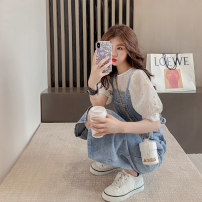 Dress Summer 2021 White coat + Strap skirt denim strap skirt white top S M L XL longuette Two piece set Short sleeve commute Crew neck High waist Solid color Socket A-line skirt routine straps 18-24 years old Jielizhen More than 95% other Other 100% Pure e-commerce (online only)