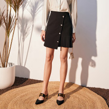 skirt Spring 2020 S,M,L black Short skirt commute Natural waist skirt Solid color Type A More than 95% other Lucidy / lucidy polyester fiber