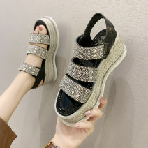 Sandals 35 36 37 38 39 40 Silver Black PU Barefoot Muffin bottom High heel (5-8cm) Summer 2021 Velcro Korean version Solid color Adhesive shoes Youth (18-40 years old) rubber daily Back space Water drill muffin and waterproof platform Low Gang Lateral space Fashion sandals