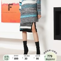 skirt Winter of 2019 S M L black Middle-skirt commute High waist A-line skirt stripe Type A 30-34 years old FW00121 51% (inclusive) - 70% (inclusive) FUUNNY FEELLN acrylic fibres Splicing Ol style Polyacrylonitrile fiber (acrylic fiber) 52.2% wool 47.8%