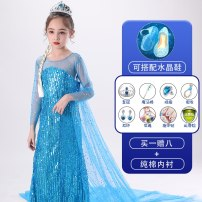 Dress female No season princess Long sleeves Solid color cotton Splicing style Class B Spring of 2019 3 years old, 4 years old, 5 years old, 6 years old, 7 years old, 8 years old, 9 years old, 10 years old, 11 years old, 12 years old