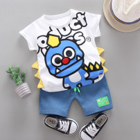 suit Zhiqinnuo 80cm 90cm 100cm 110cm male summer leisure time Short sleeve + pants 2 pieces Thin money No model Socket nothing Cartoon animation children Expression of love Class A Summer 2020 6 months 12 months 9 months 18 months 2 years 3 years 4 years old