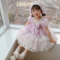 Dress violet female Mokabati 90cm 100cm 110cm 120cm 130cm Other 100% summer Lolita Short sleeve Solid color cotton A-line skirt Class A Spring 2021 18 months, 2 years old, 3 years old, 4 years old, 5 years old, 6 years old, 7 years old, 8 years old Chinese Mainland Zhejiang Province Huzhou City