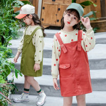 Dress Red green female Embarrassing egg 110cm 120cm 130cm 140cm 150cm 160cm 170cm Other 100% spring and autumn princess Long sleeves Dot other A-line skirt Q dot strap dress cover other