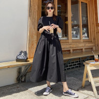 Dress Summer 2020 black S M L XL Mid length dress singleton  Short sleeve commute Crew neck Elastic waist Solid color Socket A-line skirt puff sleeve Others 18-24 years old Type A Yi Mengna Korean version Pleated pocket stitching strap LYQ289 51% (inclusive) - 70% (inclusive) cotton