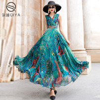 Dress Summer 2020 Blue and green watercress S M L XL 2XL 3XL longuette singleton  Sleeveless commute V-neck Decor Socket Big swing Others 35-39 years old Type X Qiya Retro Pleating QY-20221 More than 95% Chiffon polyester fiber Other polyester 95% 5% Pure e-commerce (online only)