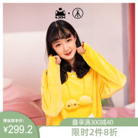 Nightgown / bathrobe Homewear female M L Lemon yellow and black routine Cartoon Polyester (polyester) winter Medium length (knee to Mid Calf) Cartoon animation youth AQJJ-70419A8/9 printing 200g and below Autumn 2020 Polyester fiber 94% polyurethane elastic fiber (spandex) 6%