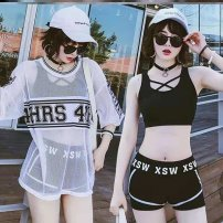 one piece  Other brands M ( eighty - 95 kg) , L ( ninety-five - 105 kg) , XL ( one hundred and five - 120 kg) Skirt one piece With chest pad without steel support polyester fiber Q265 female Sleeveless Casual swimsuit Pleating
