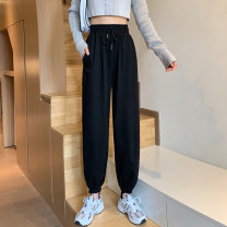 Casual pants Autumn 2020 trousers Haren pants High waist commute routine 18-24 years old 81% (inclusive) - 90% (inclusive) Korean version Bandage polyester fiber
