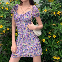 Dress Summer 2020 violet S,M,L Short skirt singleton  Short sleeve street square neck High waist Broken flowers zipper One pace skirt puff sleeve 18-24 years old Type H ORANGEA 91% (inclusive) - 95% (inclusive) other polyester fiber Europe and America