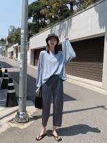 Women's large Spring 2020 Black, gray XL (100-125 kg), 2XL (125-150 kg), 3XL (150-180 kg), 4XL (180-210 kg) trousers commute thin Korean version 18-24 years old Ninth pants