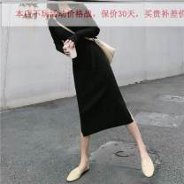 Dress Autumn of 2019 Average size longuette Long sleeves commute Crew neck High waist Solid color Socket other routine Others 18-24 years old Type H Korean version knitting other