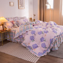 Bedding Set / four piece set / multi piece set spandex other Plants and flowers other Mengzi cotton 4 pieces other Bed sheet, bed skirt Qualified products Princess style 100% cotton other Reactive Print