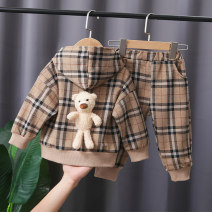 suit Deer hemp 80cm 90cm 100cm 110cm 120cm male spring and autumn leisure time Long sleeve + pants 2 pieces routine No model Socket No detachable cap lattice cotton children Expression of love Class A Cotton 95% polyester 5% Winter 2020 Chinese Mainland
