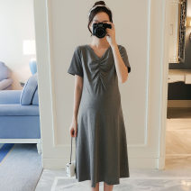 Dress VSETAMELLE Black, dark grey M,L,XL,XXL Korean version Short sleeve Medium length summer V-neck Solid color Pure cotton (95% and above) 1448&