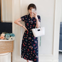 Dress VSETAMELLE Main graph color M,L,XL,XXL,XXXL Korean version Short sleeve have more cash than can be accounted for summer Lapel Decor Space cotton