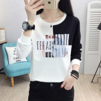 T-shirt M L XL XXL 3XL Spring 2021 Long sleeves Crew neck easy Regular routine commute cotton 51% (inclusive) - 70% (inclusive) 18-24 years old Korean version youth Color matching of cartoon letters Zhuomaqi Printed stitching thread Cotton 65% polyurethane elastic fiber (spandex) 35%