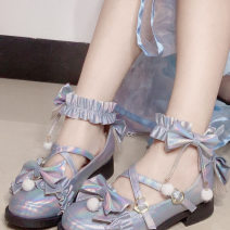 Low top shoes Round head Superfine fiber Flat bottom Middle heel (3-5cm) Shallow mouth Superfine fiber Autumn of 2019 Flat buckle Lolita Adhesive shoes Youth (18-40 years old) Solid color TPR (tendon) Single shoes Microfiber skin daily Frosting
