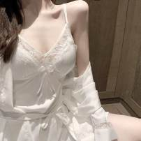 Nightgown / bathrobe Meile tide female 165 170 175 white Thin money sexy silk autumn Short (Mid Thigh to knee) silk Solid color VN8UQ_ one trillion and six hundred and fifteen billion five hundred and fourteen million six hundred and eighty thousand three hundred and eighty-eight Embroidery