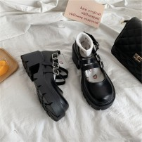 Low top shoes 35 36 37 38 39 Dixitu Black matte black shine black matte upgrade black shine upgrade Round head PU Thick heel Middle heel (3-5cm) Shallow mouth PU Spring 2021 Flat buckle Korean version Adhesive shoes Youth (18-40 years old) Solid color rubber Single shoes Belt buckle PU leisure time