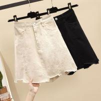 skirt Summer 2021 S (90-100 Jin), m (100-110 Jin), l (110-120 Jin), XL (120-135 Jin), 2XL (135-150 Jin), 3XL (150-165 Jin), 4XL (165-175 Jin), 5XL [175-200 Jin] Off white, black Short skirt commute High waist A-line skirt Type A 18-24 years old Denim Other / other Korean version