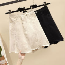 skirt Summer 2021 S (90-100 Jin), m (100-110 Jin), l (110-120 Jin), XL (120-135 Jin), 2XL (135-150 Jin), 3XL (150-165 Jin), 4XL (165-175 Jin), 5XL [175-200 Jin] Off white, black Short skirt commute High waist A-line skirt Type A 18-24 years old Denim Other / other Korean version