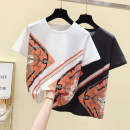 T-shirt White, black S,M,L,XL,2XL,3XL Summer 2021 Short sleeve Crew neck easy Regular routine street other 96% and above 18-24 years old classic Geometric pattern 122# Diamond inlay Europe and America