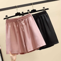 Casual pants Pink, black L,XL,2XL,3XL,4XL Summer 2021 shorts Wide leg pants High waist commute Thin money 18-24 years old 96% and above Other / other polyester fiber Simplicity pocket polyester fiber