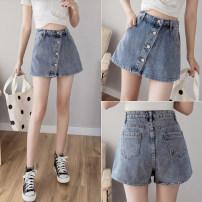 Jeans Spring 2021 Light blue, black S [90-100 Jin], m [100-110 Jin], l [110-120 Jin], XL [120-135 Jin], 2XL [135-150 Jin], 3XL [150-165 Jin], 4XL [165-175 Jin], 5XL [175-200 Jin] shorts High waist Wide legged trousers routine 18-24 years old Zipper, button, multiple pockets Cotton denim light colour