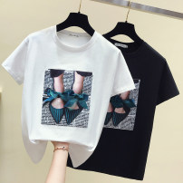 T-shirt White, black S,M,L,XL Summer 2021 Short sleeve Crew neck Self cultivation Regular routine commute cotton 86% (inclusive) -95% (inclusive) Korean version youth Geometric pattern, cartoon, solid color, letter Other / other Patch, 3D